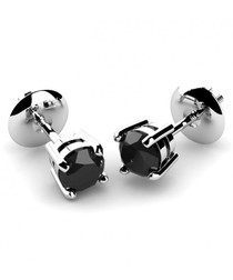 1ct black diamond & white gold studs
