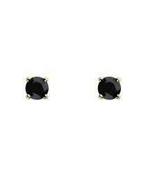 1ct black diamond & gold studs