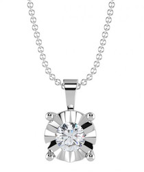 Illusion diamond & white gold necklace