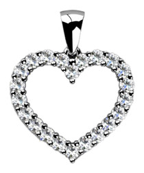 0.3ct diamond & white gold heart pendant
