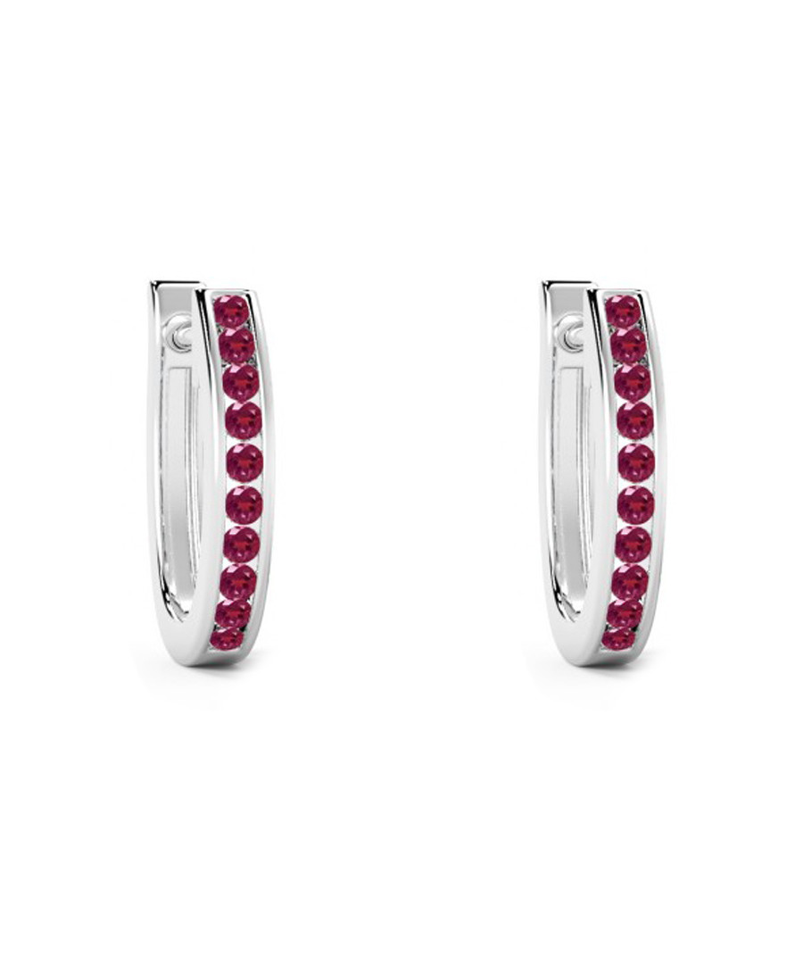 0.75ct ruby & white gold hoop earrings Sale - Buy Fine Diamonds