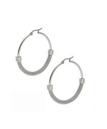 Silver-plated steel mesh hoop earrings