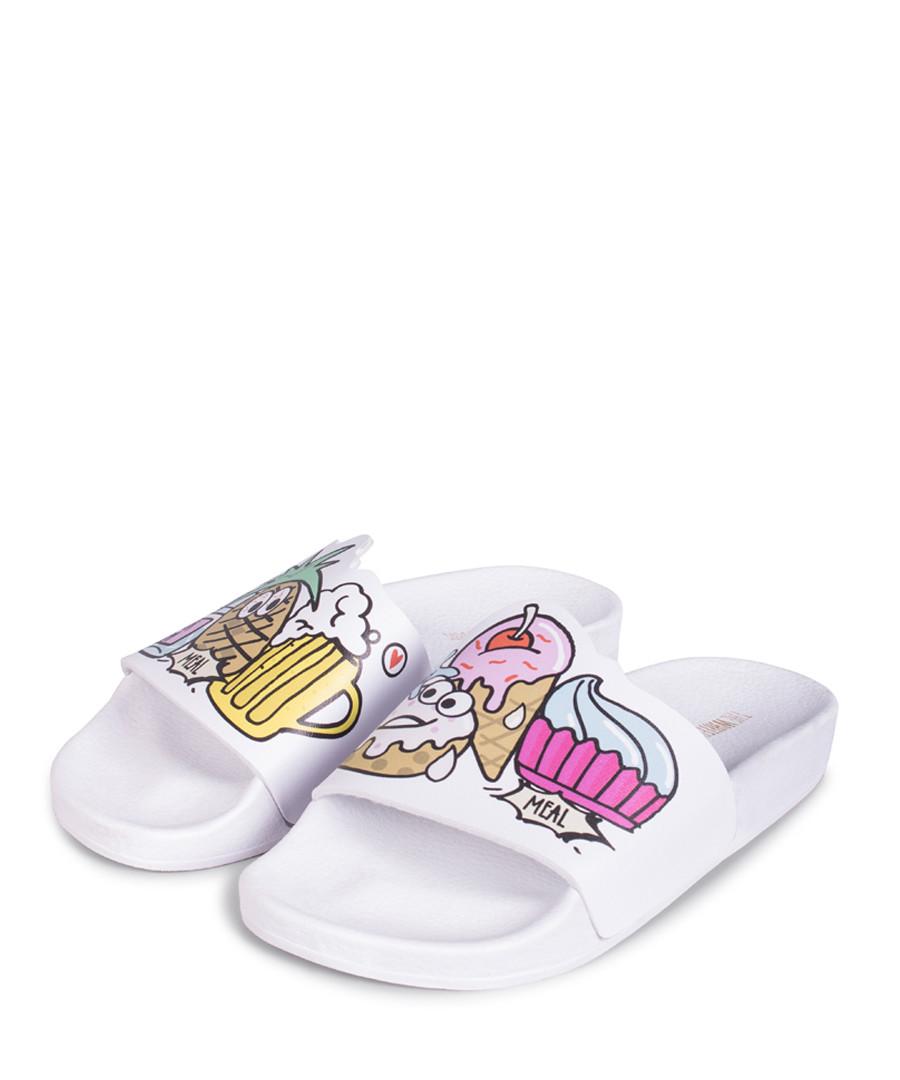 Ice Cream white print sliders Sale - The White Brand