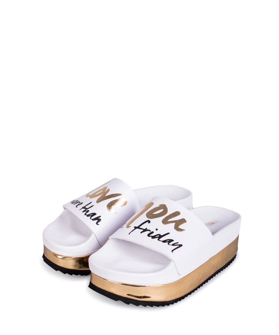 High Friday white slogan sliders Sale - The White Brand