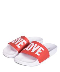 Love red & white slogan sliders