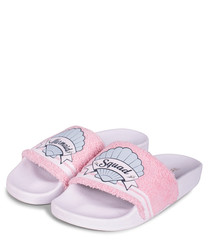 Mermaid pink print sliders