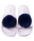 Pom Pom blue & white sliders Sale - The White Brand Sale
