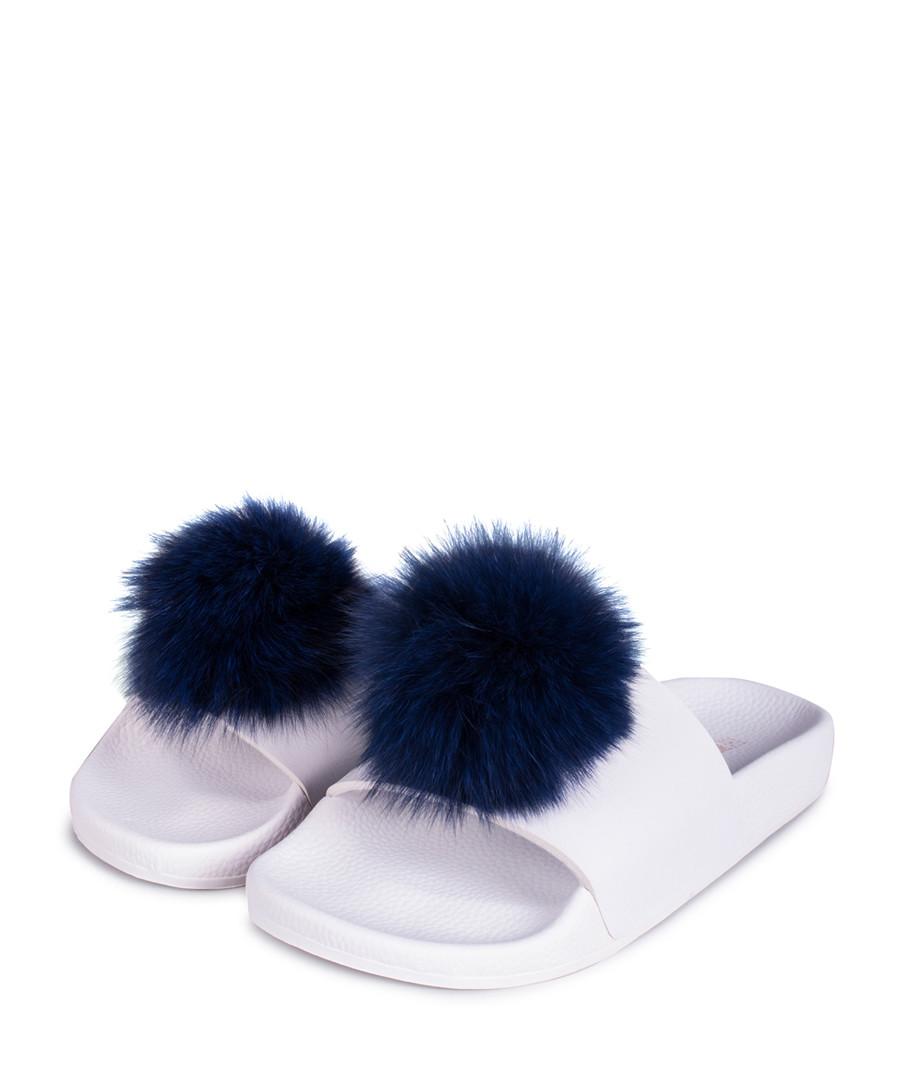 Pom Pom blue & white sliders Sale - The White Brand