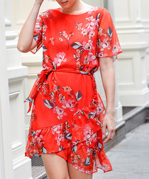 Coral floral short sleeve mini dress