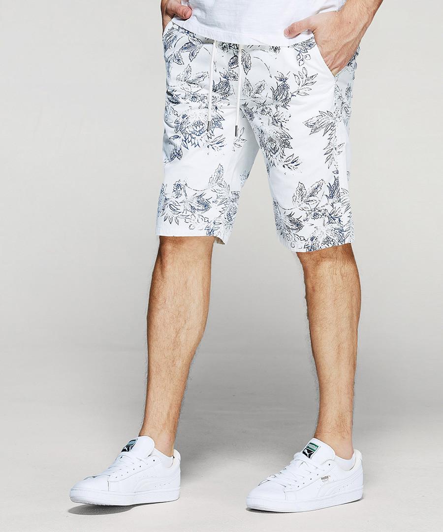 White pure cotton print shorts Sale - kuegou