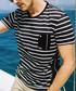 Black & white cotton stripe T-shirt Sale - kuegou Sale