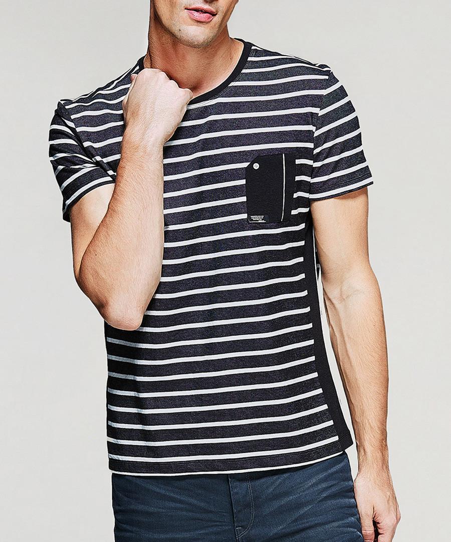Black & white cotton stripe T-shirt Sale - kuegou