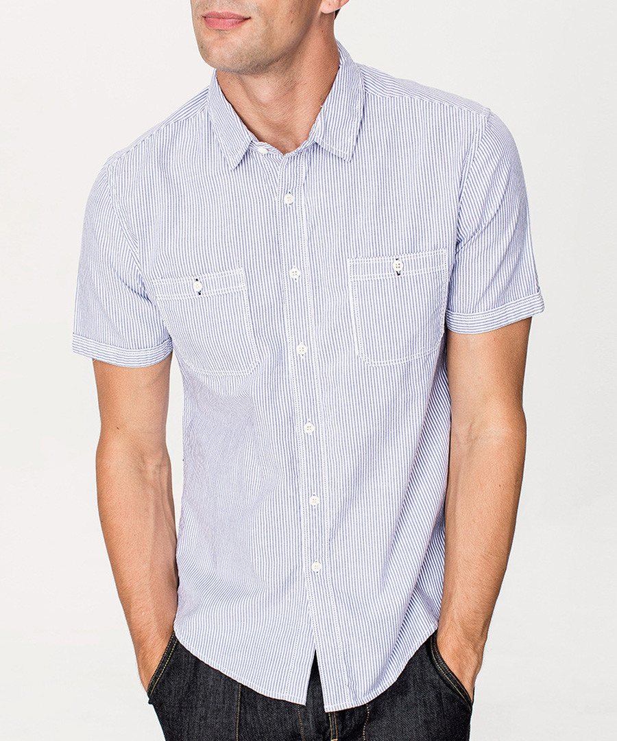 Blue cotton blend short sleeve shirt Sale - kuegou