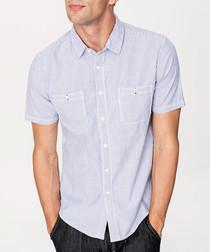 Blue cotton blend short sleeve shirt
