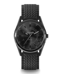 Black steel & rubber watch