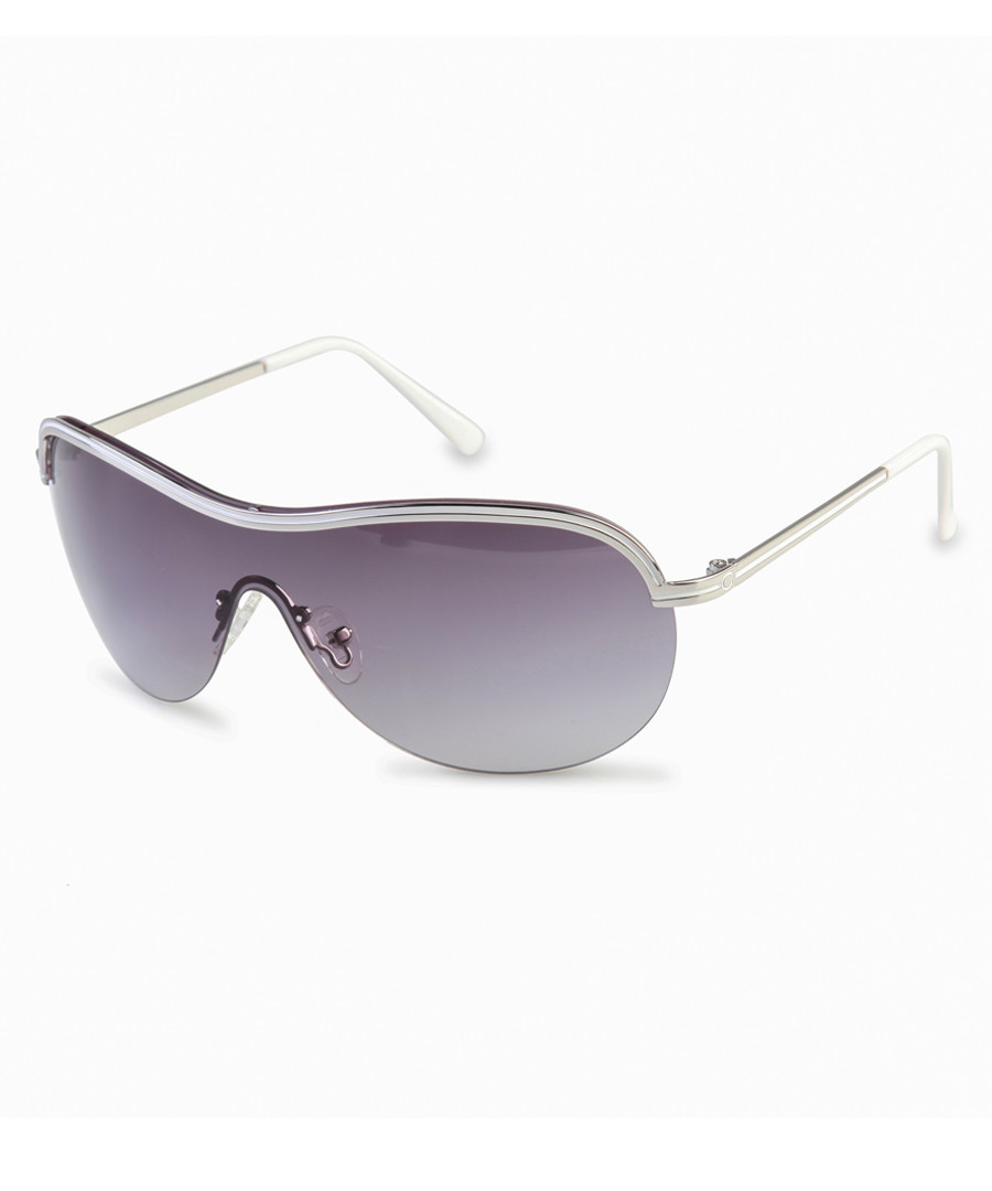 Silver-tone & blue visor sunglasses Sale - guess