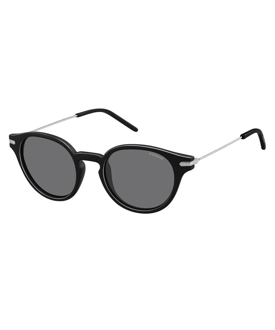 Black & silver-tone round sunglasses Sale - polaroid