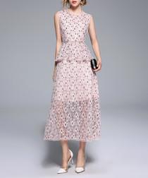 Light pink peplum sleeveless dress