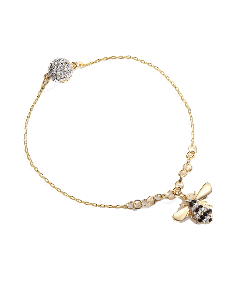 Gold-plated bee crystal bracelet Sale - caromay