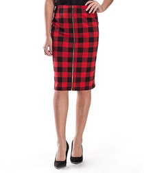 Red check zip-up pencil skirt