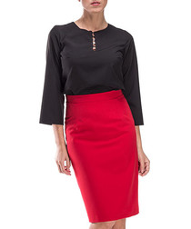 Red knee-length pencil skirt