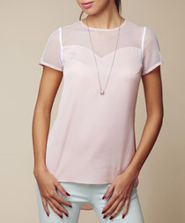 Pink short sleeve sheer blouse