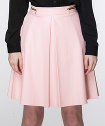 Pink flared pleated mini skirt