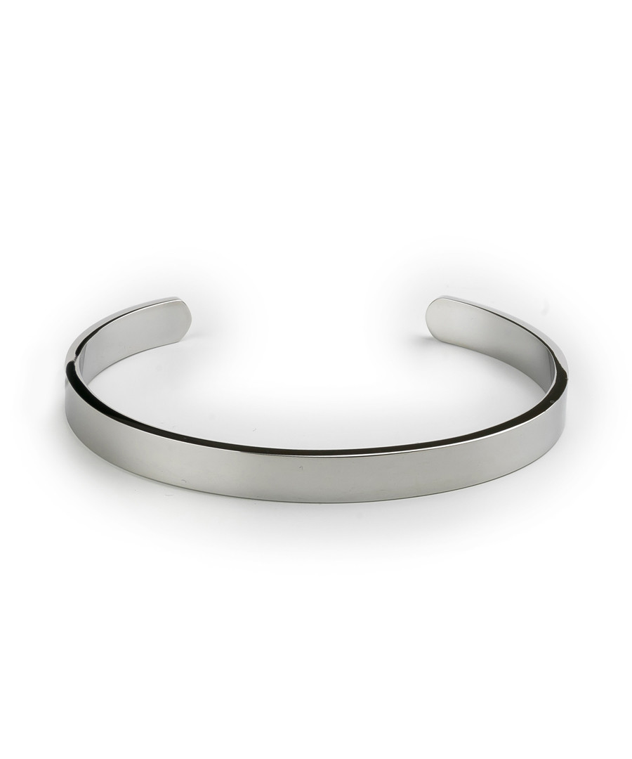 Silver-tone steel open bangle Sale - monomen