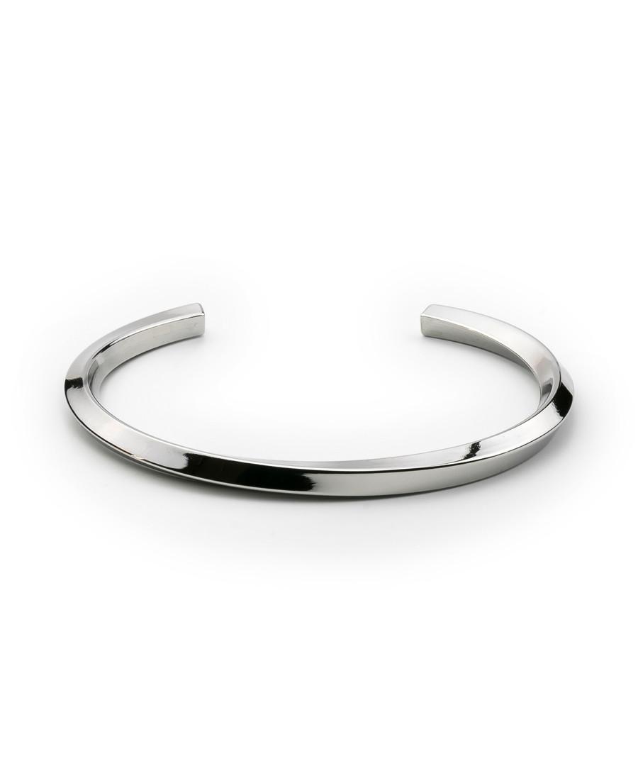 Silver-tone steel open bangle Sale - monomen