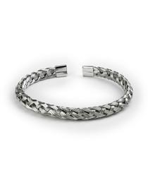 Silver-tone steel woven bangle