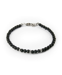 Black steel & onyx beaded bracelet
