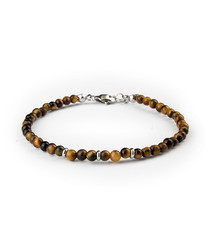 Brown tiger eye & steel bead bracelet