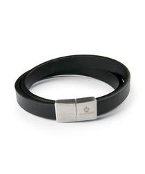 Black & silver-tone nappa bracelet