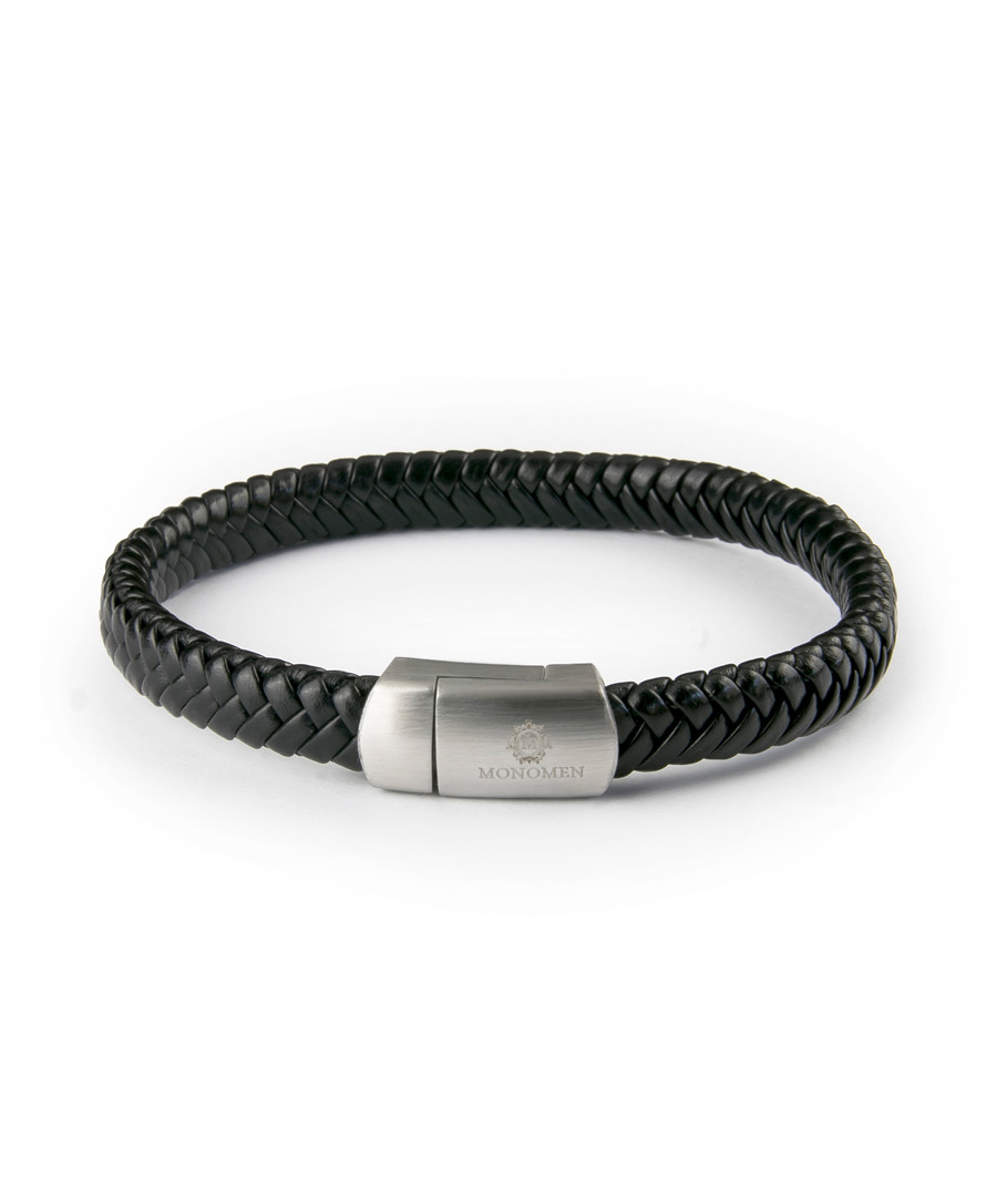 Black nappa leather woven bracelet Sale - monomen