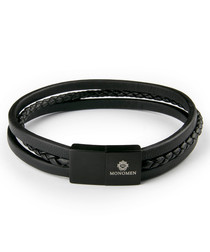 Black nappa leather woven bracelet
