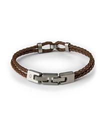 Brown nappa braided bracelet