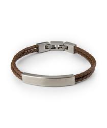 Brown & silver-tone nappa bracelet
