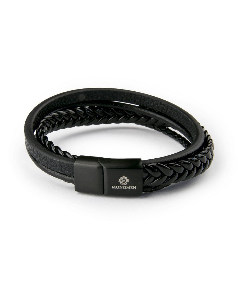 Black nappa multi-strand bracelet Sale - monomen