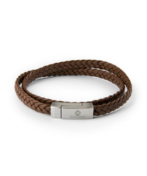 Brown nappa & steel braided bracelet