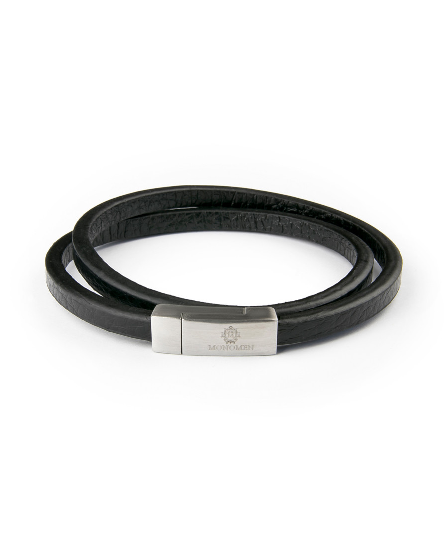 Black & silver-tone leather bracelet Sale - monomen