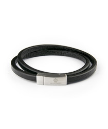 Black & silver-tone leather bracelet