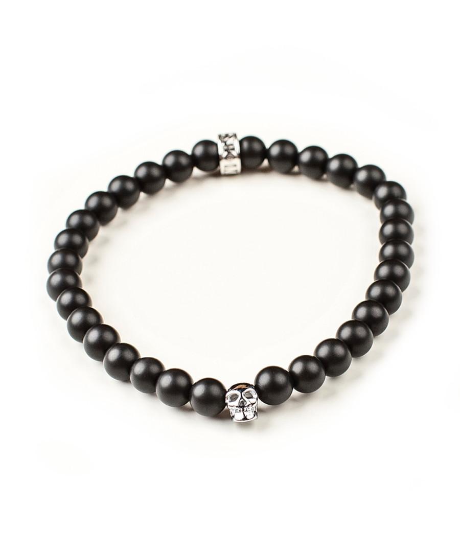 Black onyx skull beaded bracelet Sale - monomen