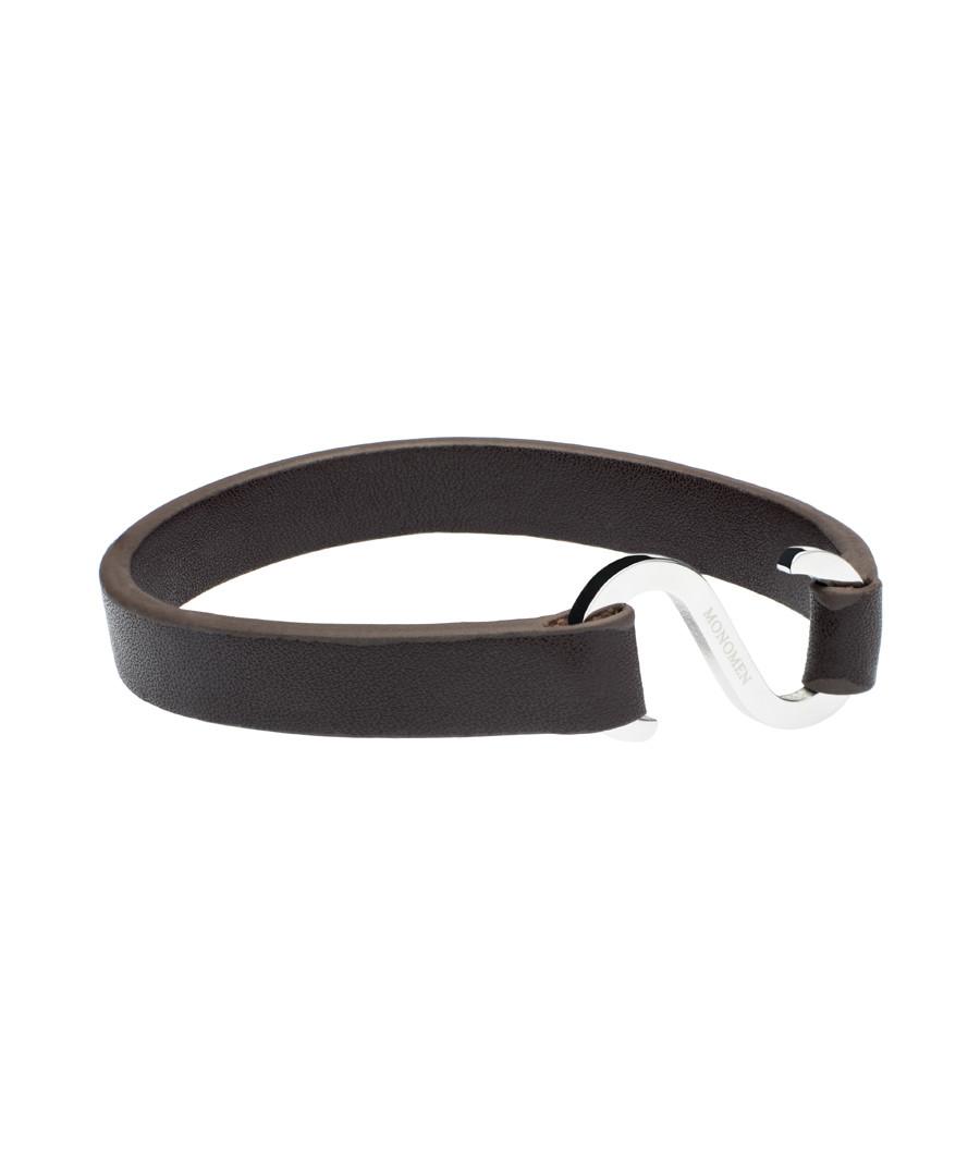 Dark brown nappa hook bracelet Sale - monomen