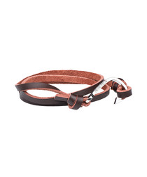 Brown nappa wrap anchor bracelet