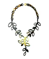 Linked Leaves black horn necklace
