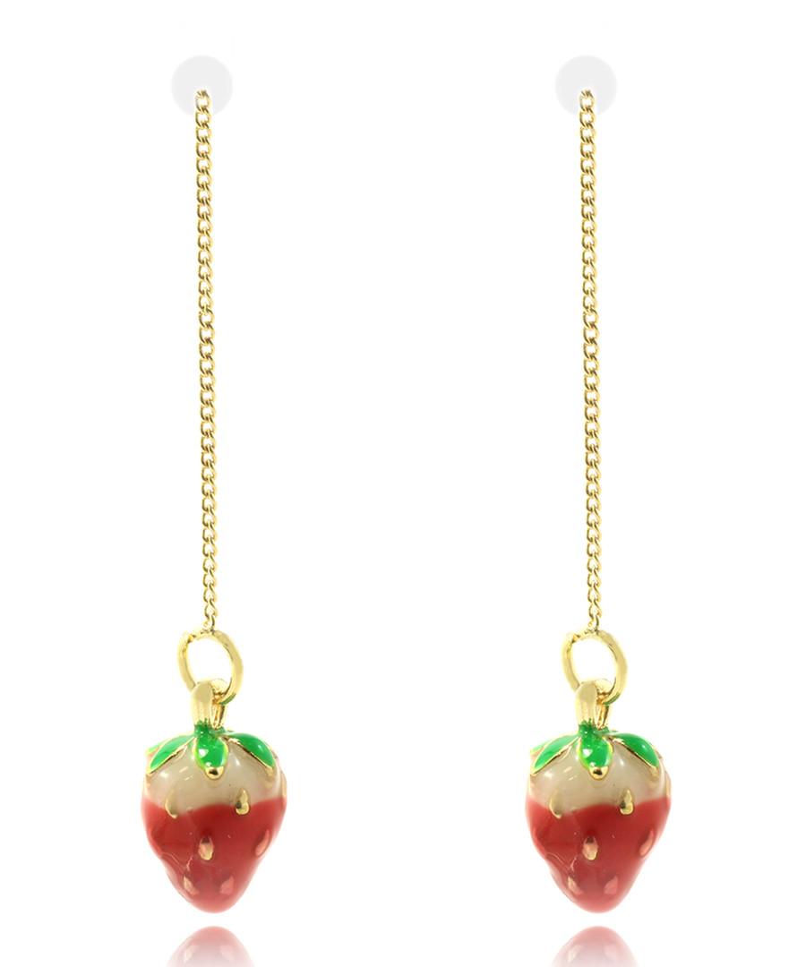 Strawberries gold-plated drop earrings Sale - fleur envy