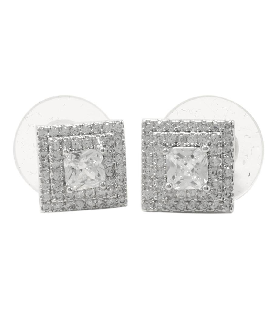 Bedazzling Pyramid silver-tone earrings Sale - fleur envy