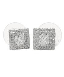 Bedazzling Pyramid silver-tone earrings