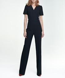 Black V-neck short sleeve jumpsuit