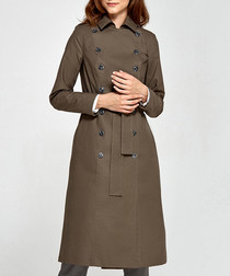 Khaki pure cotton trench coat